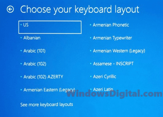 Choose your keyboard layout Windows rollback loop