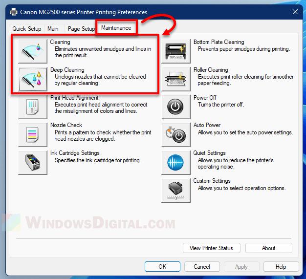 Clean Print Head Windows 11