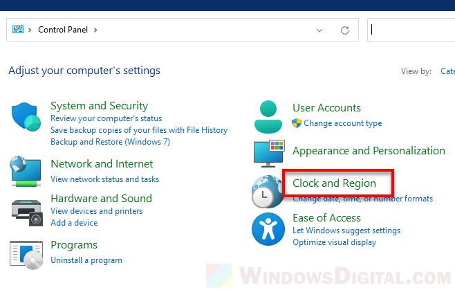 Clock and Region Windows 11