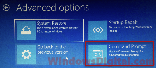 Comand Prompt Preparing Automatic Repair Windows 10 loop
