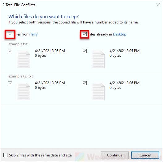 Compare info for both files missing Windows 10
