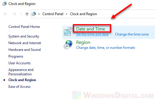 Configure date and time Windows 10
