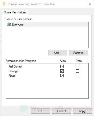 Configure shared folder permissions