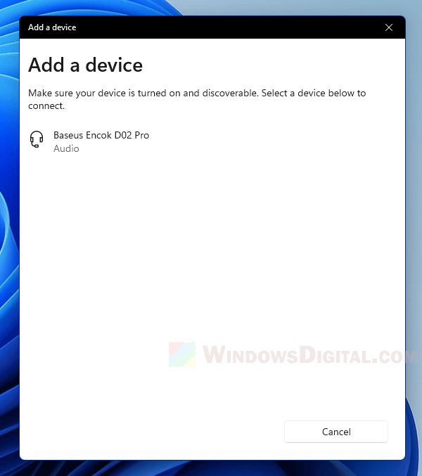 Connect Bluetooth headset to Windows 11 PC
