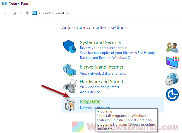 Control Panel Programs Active Directory Users and Computers