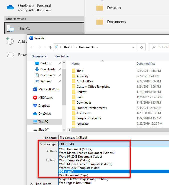 Convert word doc docx to PDF