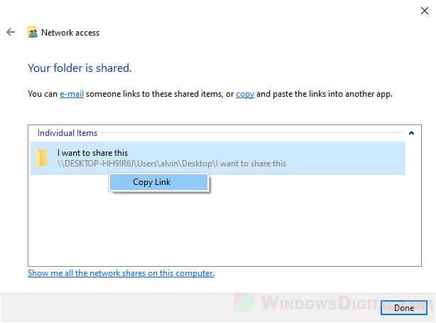 Copy link of shared folder Windows 10
