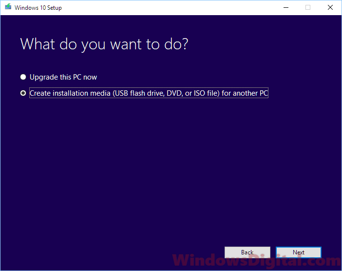 Create Windows 10 installation Media on USB or DVD