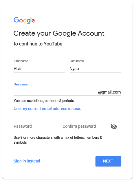 Create YouTube account with Gmail