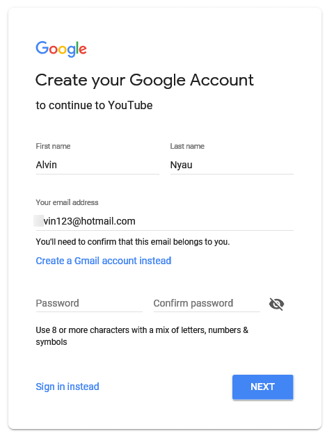Create YouTube account without Gmail