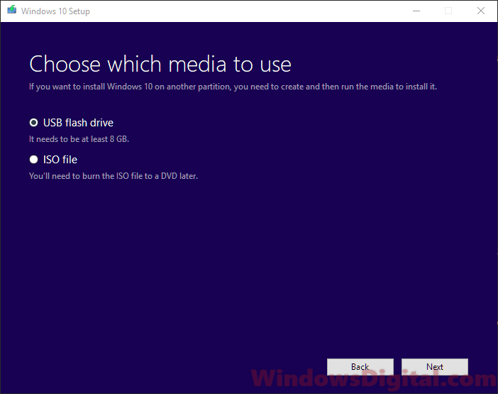 Create bootable USB Windows 10 digital download installation