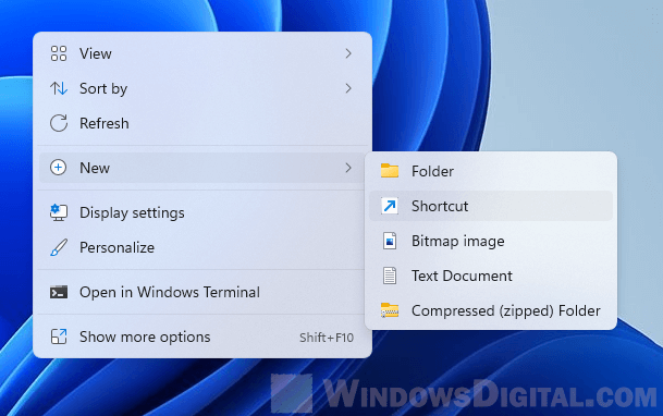 Create desktop shortcut Windows 11