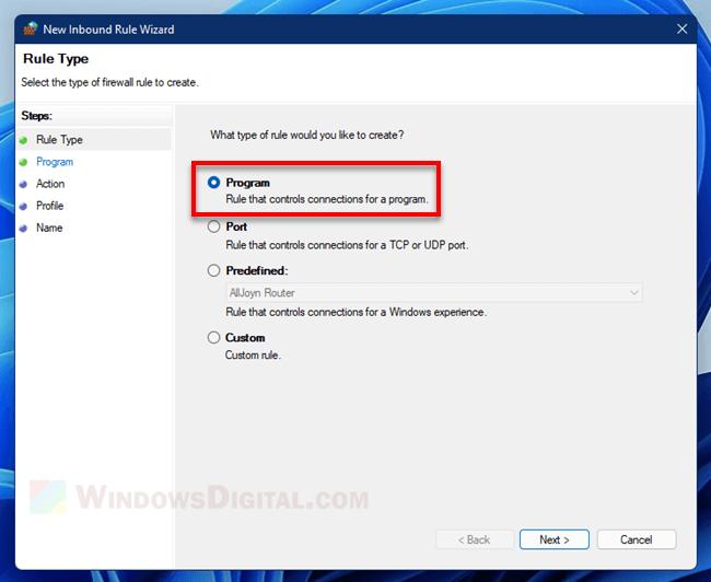 Create inbound rule to block program Windows 11 Firewall