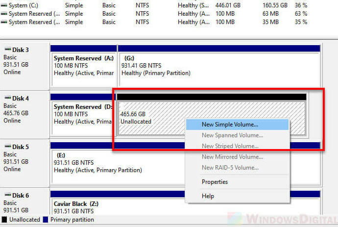 Create partition and format SSD Windows 10