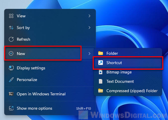 Create shortcut Windows 11