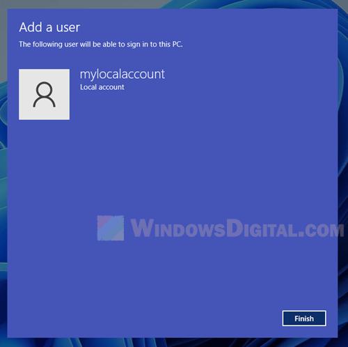 Create user account Windows 11