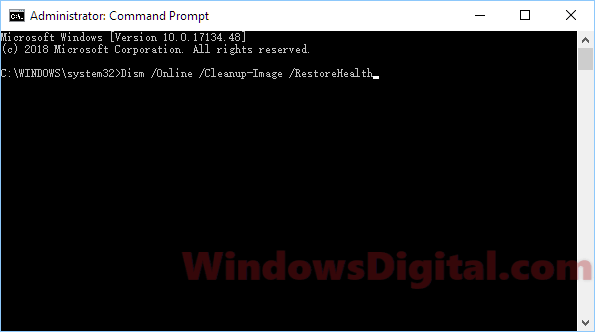 DISM tool to fix Not enough memory resources
