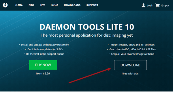 Daemon Tools Lite offline installer Free Download for Windows 10 64 bit