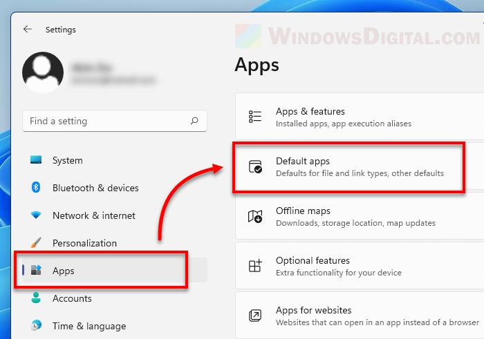 Default apps Windows 11