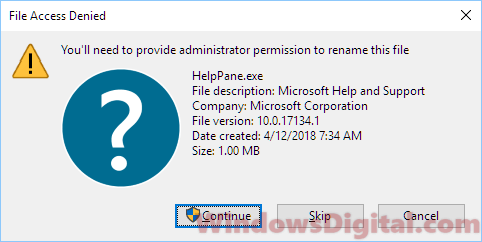 Delete Helppane requires admin permission