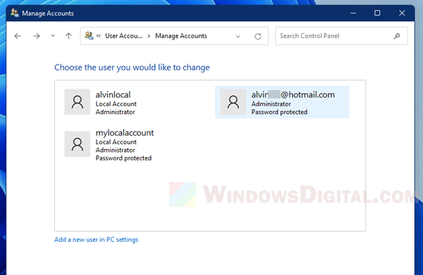 Delete Microsoft account in Windows 11