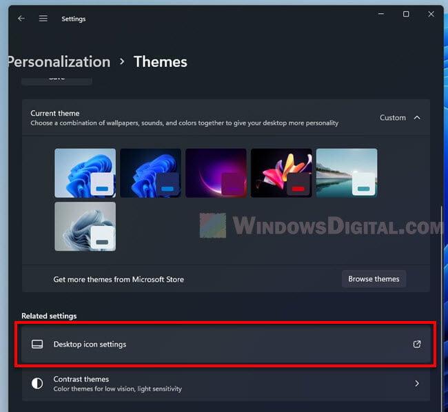 Desktop icon settings in Windows 11