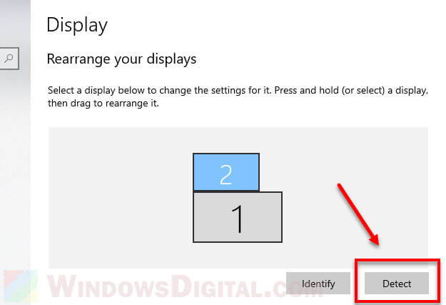 Detect new monitor projector TV on Windows 10