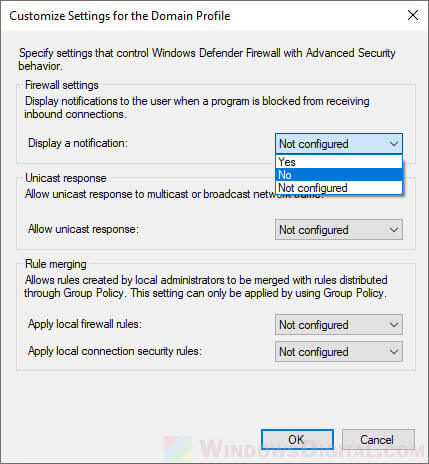 Disable Windows 10 firewall notifications command line