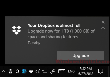 Disable Your Dropbox is almost full notification message
