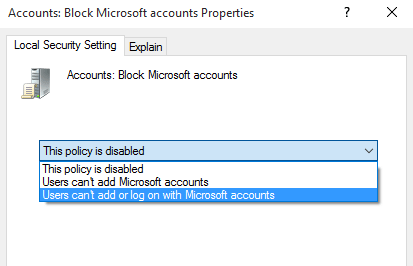 Disable and Block Microsoft Account Problem
