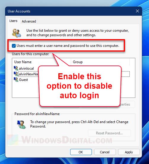 Disable auto login Windows 11
