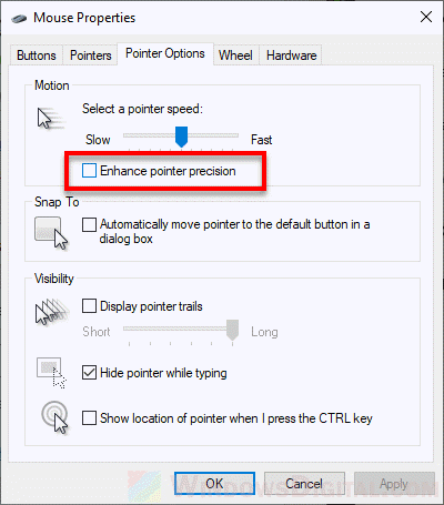 Disable enhance pointer precision mouse acceleration in Windows 10