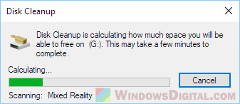 Disk Cleanup Stuck on Calculating Mixed Reality