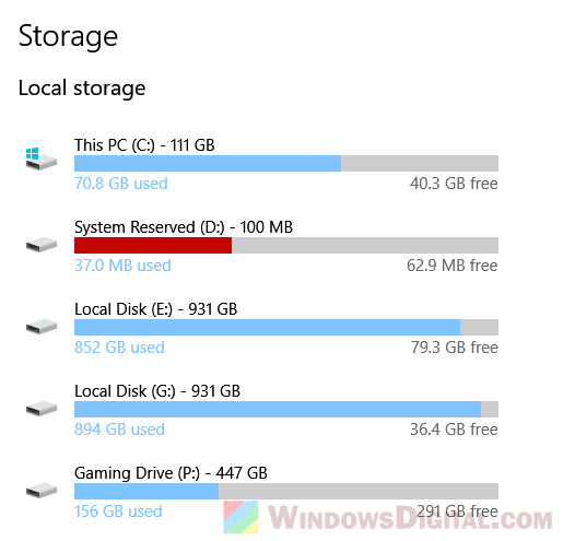 Disk Cleanup in Windows 10 using Storage app