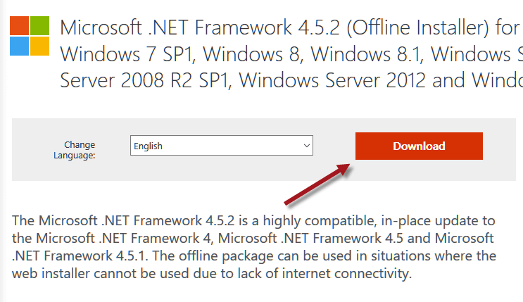 download microsoft net framework 4.5 for windows 7