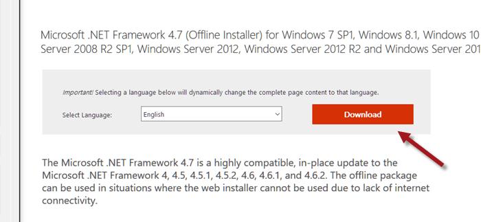 Download .NET Framework 4.7 offline installer for Windows 10 64-bit