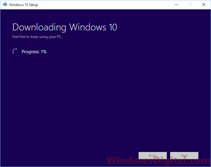 Downloading Windows 10 progress stuck not working