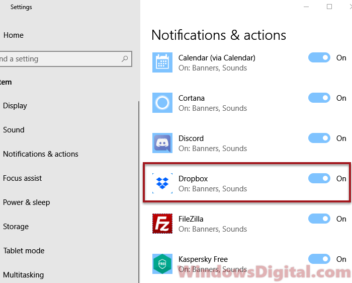 Dropbox notification actions setting windows 10