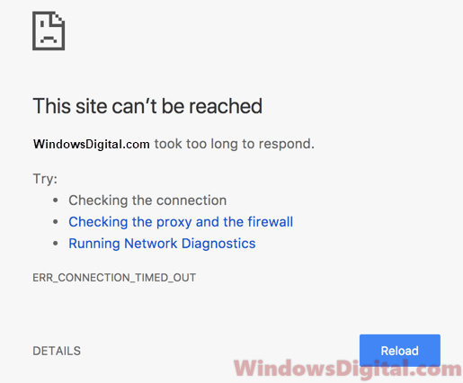 ERR_CONNECTION_TIMED_OUT Chrome Website Windows 10