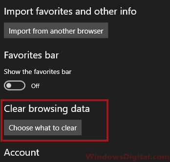 Edge Clear browsing cache data history and files