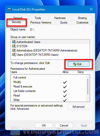 Edit User Permissions for Drive in Windows 11