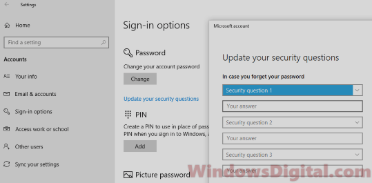 Enable Disable Security Questions Windows 10