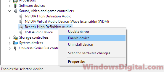 Enable driver No audio output device is installed