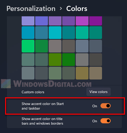 Enable show accent color on taskbar Windows 11