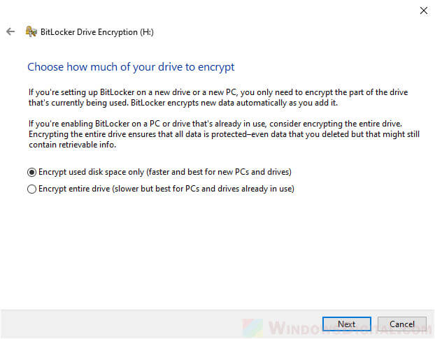 Encrypt used disk space only or entire drive BitLocker Windows 10