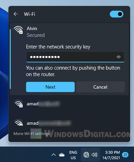 Enter the network security key WiFi password Windows 11