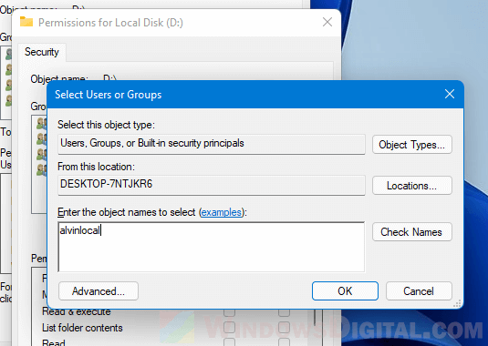 Enter the object names to select user Windows 11