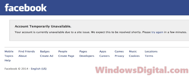 Facebook Account Temporarily Unavailable 2018