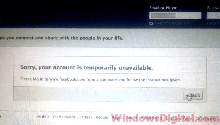 Facebook Account Temporarily Unavailable login from computer