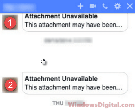 Facebook Attachment Unavailable Error Messenger